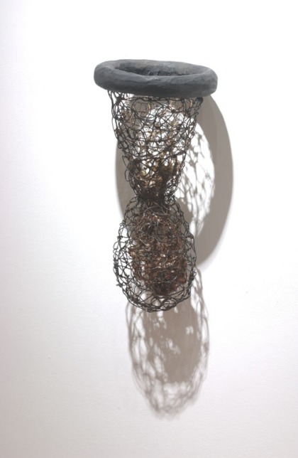 "Arrival 15""x6""x6"" Wire, flax, abaca, wood 2003"